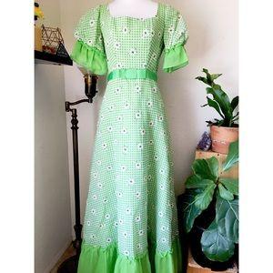 Vintage Green Gingham Prairie Maxi Dress